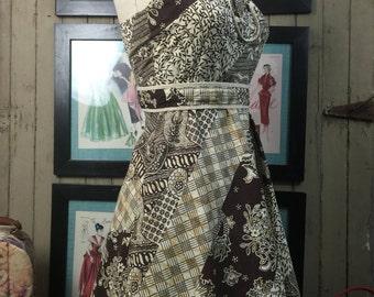 Fall sale 1970s sundress 70s dress cotton dress size small Vintage dress bohemian dress brown dress