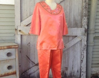 Sale 1950s pant suit 50s 2 piece beaded top and pants size medium Vintage outfit jeweled blouse cigarette pants and tunic