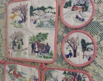 """Grandma Moses Tiles Fabric Barkcloth RARE  """"Tiles """" Kitchen Set of 8 pieces sewbuzyb"""