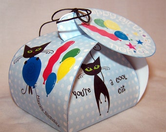 Digital download birthday favor box; printable birthday gift box