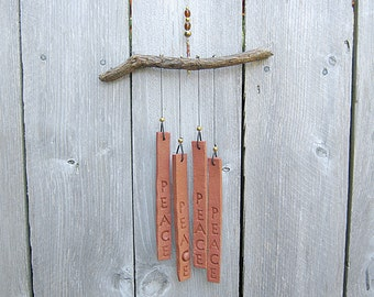 PEACE Wind Chime Ceramic and Driftwood