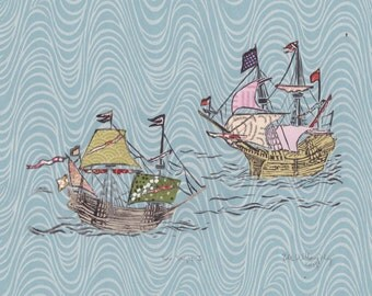 Two Ships I - Block Print with Mixed Papers - Lino Block Print Historic Sailing Ships, Exploration, Collaged Japanese Papers