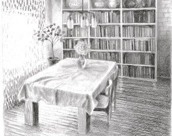 Kitchen Interior, black white pencil sketch drawing illustration, 20 x 18 cm