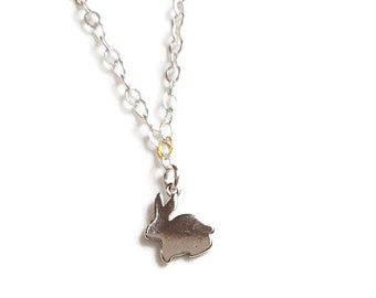 Cute Rabbit Charm Necklace Gold or Silver