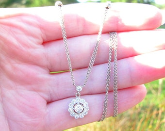 Vintage Diamond Daisy or Diamond Halo Pendant Necklace, Super Fiery and Bright Diamonds, Diamond Stations, 18K White Gold,  Very Elegant