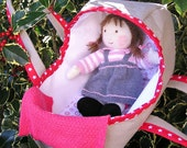 Moses Basket with Hand knitted Doll with light brown hair; Doll Bed Carrier
