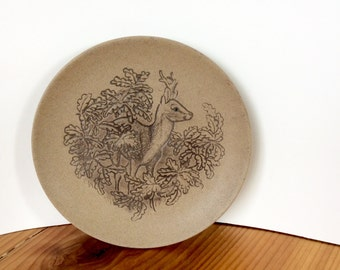 "Poole Pottery Deer Plate. Wildlife Collection, 5"" Dish. Vintage 1980s Stoneware Pin Dish or Decorative Wall Plate."