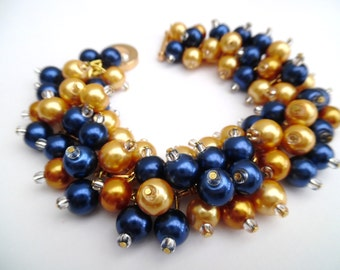 Navy and Mustard Yellow Pearl Bracelet, Bridesmaid Jewelry, Cluster Bracelet, Beaded Bracelet, Wedding Jewelry, Bridesmaids Bracelets