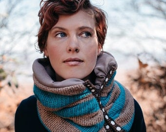 Snap Front cowl scarf: winter fashion accessory, TEAL AND TAUPE. Circular cowl scarf with modern snap detail, fully lined with warm fleece.