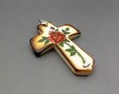 Scrimshaw Pendant Cross Pendant Cow Bone Cross Red Rose and Rosebud Flowers Floral Inspirational Religious Christian Pendant