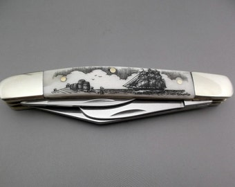 Scrimshaw Knife Pocket Knife Frost Cutlery Iron Horse Wrangler Nautical Design Ship and Dock Scene Hand Etched Groomsman Gift