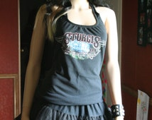 Sturgis Motorcycle tank top halter neck upcycled small medium large xlarge plus size 2xl