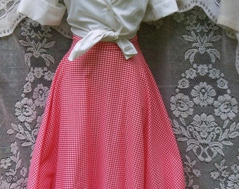 Valentines Sale Red gingham tutu skirt vintage 50's rockabilly swing square dance pin up  party  small  medium from vintage opulence on Etsy