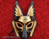 FREE SHIPPING USA Industrial Anubis Leather Mask ... handmade steampunk egyptian jackal masquerade mask Halloween Mardi Gras Burning Man