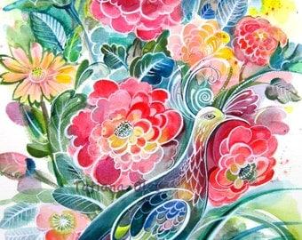 Original Watercolor painting by Tatiana  Oles /flowers /bird