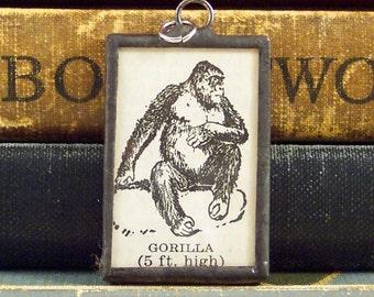 Gorilla Pendant - Soldered Pendant - Gorilla Necklace - Vintage Dictionary Definition Charm - Paper Ephemera - Vintage Book Pendant