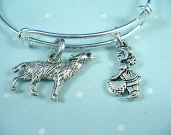 Red Riding Hood, Big Bad Wolf Charm Bangle, Trip To Grandma's House, Silver Bangle Bracelet, Gift For Her