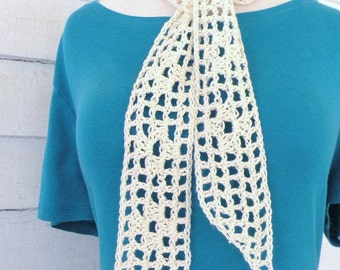 Cream Off-White Ecru Feather Soft Organic Cotton Neck Scarf Skinny Scarf Neck Kerchief