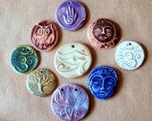 9 Handmade Ceramic Beads - Fun Sale Bead Assortment - Rustic, Spiritual designs - owl, tree of life, lotus, om, face