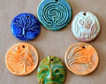 6 Handmade Ceramic Beads - Spiritual and Rustic set of Summer Pendants - Perfect for Summer Festivals - Sun, Moon, Triple Goddess