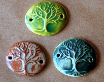 3 Handmade Ceramic Beads -  Celtic Tree of Life Bracelet Beads - Link or Connector beads in Green and Rust Glazes