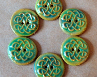 6 Handmade Buttons - Celtic Knot Buttons in Stoneware - Unique Focal Buttons in Light Spring Green