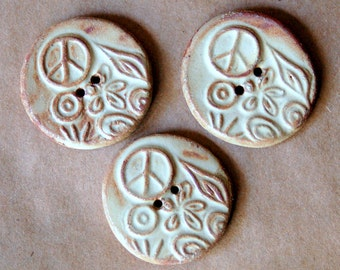3 Handmade Ceramic Peace Buttons - Rustic Rust Stoneware Peace Sign - Hippie Buttons