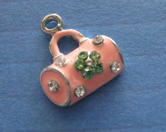 tiny Pink padlock handbag charm x 1 piece