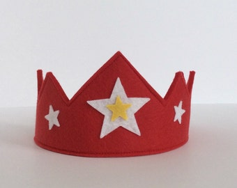 Wool Felt Crown -- red with white and yellow stars