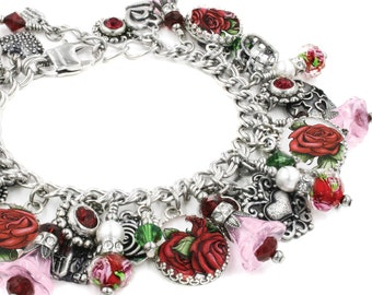 Silver Rose Charm Bracelet, Silver Rose Jewelry, Flower Jewelry, Rose Bracelet, Flower Bracelet, La Vie en Rose, Flower Charm Bracelet