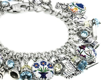 Quilting and Sewing Silver Charm Bracelet, The Art Quilt, Quilt Jewelry, Quilt Charm Bracelet