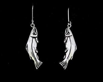 Sterling Silver Earrings, Salmon Earrings, Recycled Sterling Silver