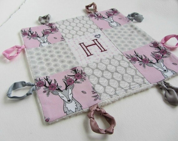 Personalized Baby Girl Lovey with Custom Hand Embroidery Name or Initial ~Choice of Backing Fabric ~Pink Grey White ~Stag Deer Woodland Rose