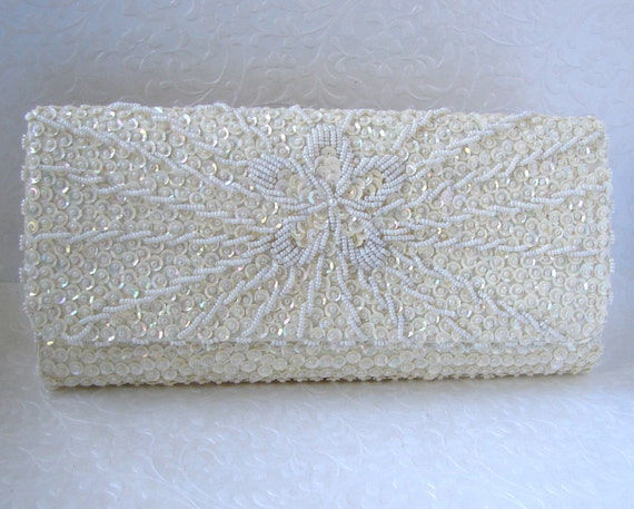 Floral Ivory Beaded Envelope Clutch Sequin Wedding Purse Formal Evening Bag Bridal Handbag Vintage Bride Flower Pattern Hand Made Hong Kong