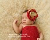 Red Handmade Flower Headband, Baby Headband,Girls Headband, Floral Headband