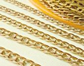 Christmas in July Sale - Vintage Medium Loop Raw Brass Curb Chain  x 5 Feet (1.52 Meters)