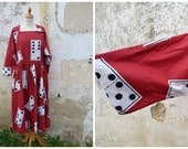 Vintage 1950/50s French giant Dominos printed cotton dress / full skirt /Kimono sleeves size L