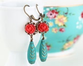 Sale - Red and Turquoise Flower Dangle Earrings - Floral Accessories, Vintage Beads, Flower Earrings, Long Earrings, Boho Chic Earrings