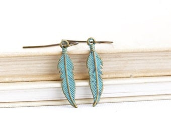 Patina Feather Earrings - Woodland Earrings - Rustic Earrings - Boho Jewelry - Feather Jewelry - Dangle Earrings