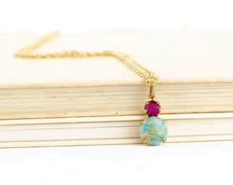 Gift For Women, Sweet Jewel Necklace, Vintage Crystal, Aqua Pendant, Aqua and Pink, Pretty Pendant Necklace, Small Pendant, Gift For Her
