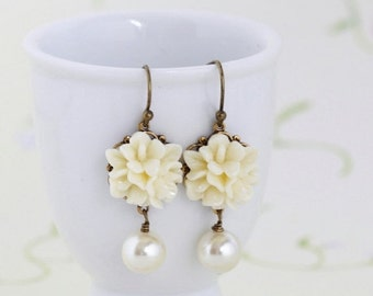 Sale - Ivory Flower Earrings, Wedding Jewelry, Ivory Earrings, Ivory Glass Pearl Bead, Matching Necklace, Gift For Woman, Valentines Gift