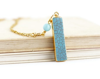 Bar Pendant Necklace -Turquoise Pendant Necklaces - Boho Turquoise Gold Pendant - Bridesmaid Gifts - Bridal Party Necklaces - Rustic Wedding
