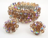 Vintage Topaz  Glass Crystal Bracelet Set