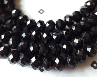 Black faceted Rondelle glass beads 6x8mm (strand)