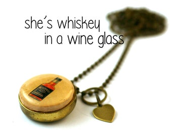 Whiskey Gift, Whiskey Necklace, Gift for Him, Boyfriend Gift, Brother Gift, Wine Cork Jewelry, Upcycled Brass, With PERSONALIZED Initial