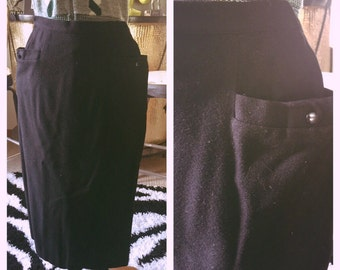 Vintage 1950s Skirt black pencil pinup wiggle 50s XS S rockabilly mint