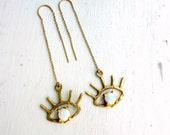 Beholder Ear Threads- Brass and Opal Ear Threads - Handmade Gold and Opal Ear Threads - Eye Lash - Eyeball Earrings