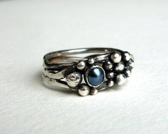 Black Pearl Caviar Ring- Handmade in Sterling Silver