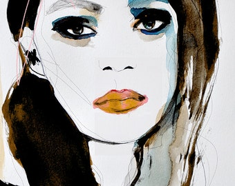 Fallow  - Fashion Illustration Art Print, Portrait, Mixed Media Painting by Leigh Viner