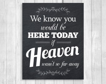 Printable We Know You Would Be Here Today If Heaven Wasn't So Far Away 8x10 Chalkboard Black and White Wedding Sign with Laurels